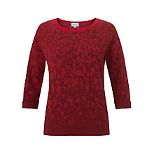 Buy Jigsaw Fade Out Jacquard Jumper, Red Online at johnlewis.com