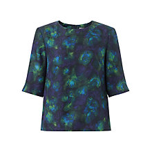 Buy Jigsaw Depths Print Silk Top, Blue Online at johnlewis.com