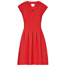 Buy Reiss Lizzie Pleat Fit and Flare Dress, Cardinal Red Online at johnlewis.com