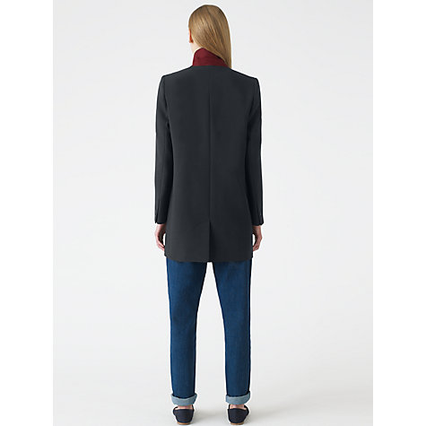 Buy Jigsaw Compact Wool Longline Jacket, Navy Online at johnlewis.com