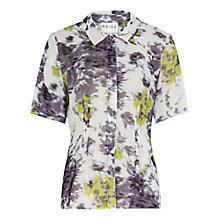 Buy Reiss Claudine Print Pintuck Blouse, Green Online at johnlewis.com