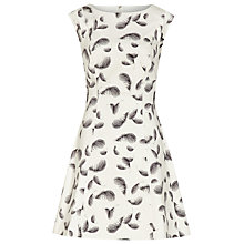 Buy Reiss Ottoline Feather Print Dress, White Online at johnlewis.com