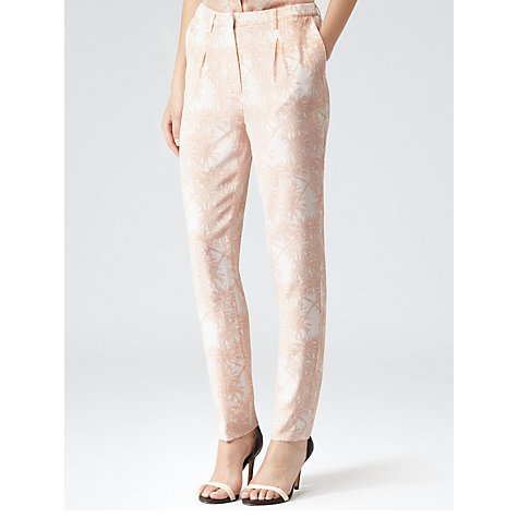Buy Reiss Paloma Bardot Print Trousers, Apricot Online at johnlewis.com