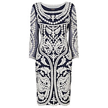 Buy Phase Eight Willamina Embroidered Dress, Navy/Ivory Online at johnlewis.com