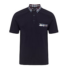 Buy Fred Perry Check Print Collar & Pocket Polo Shirt, Navy Online at johnlewis.com