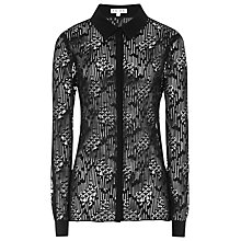 Buy Reiss Tulip Lace Shirt, Black Online at johnlewis.com