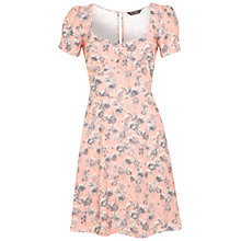 Buy Miss Selfridge Floral Tea Dress, Peach/Multi Online at johnlewis.com