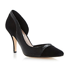 Buy Dune Constance Semi D'Orsay Leather Court Shoes, Black Online at johnlewis.com