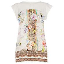 Buy Oasis Rose Scarf Print T-shirt, Multi Natural Online at johnlewis.com