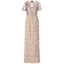 Buy Adrianna Papell Sequin Jacket Flutter Dress, Fawn Online at johnlewis.com