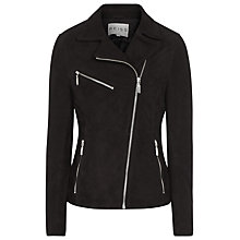 Buy Reiss Mick Suede Biker Jacket, Black/White Online at johnlewis.com
