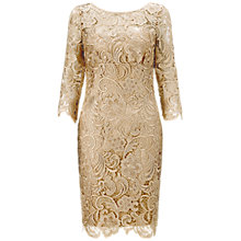 Buy Adrianna Papell Long Sleeve Lace Dress, Champagne Online at johnlewis.com