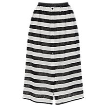 Buy Warehouse Stripe Textured Midi Skirt, Black/White Online at johnlewis.com