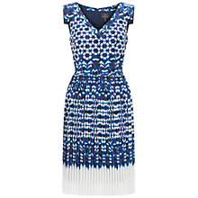 Buy Adrianna Papell Ikat Print Pleated Dress, Blue/Multi Online at johnlewis.com