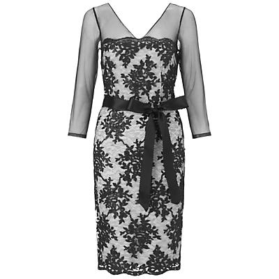 Adrianna Papell Sheer Sleeve Sequin Dress, Black