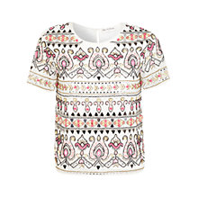 Buy Miss Selfridge Paisley Embellished Tee, Cream Online at johnlewis.com