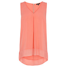 Buy Warehouse Chiffon Dipped Hem Tunic Top, Coral Online at johnlewis.com