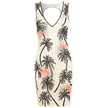 Buy Miss Selfridge Palm Embellished Dress, Cream Online at johnlewis.com