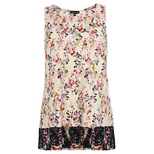 Buy Warehouse Fluro Border Floral Vest, Cream Multi Online at johnlewis.com