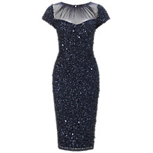 Buy Adrianna Papell Short Beaded Sheer Neck Dress, Navy Online at johnlewis.com