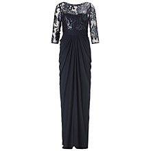 Buy Adrianna Papell Embroidered Sequin Drape Dress, Ink Online at johnlewis.com