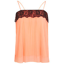 Buy Miss Selfridge Plissé Lace Trim Cami, Coral Online at johnlewis.com