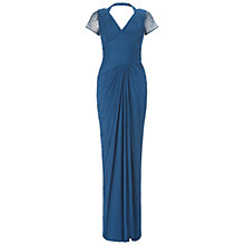 Buy Adrianna Papell Long Beaded Shoulder Dress, Twilight Online at johnlewis.com