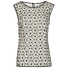 Buy Reiss Bee Flower Technique Top, Black/White Online at johnlewis.com