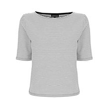Buy Warehouse Ottoman Stripe Crop Top, Black/White Online at johnlewis.com
