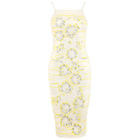 Buy Miss Selfridge Sequin Cami Midi Dress, Yellow Online at johnlewis.com