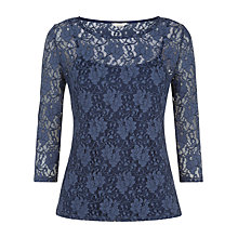 Buy Kaliko Two Tone Lace Top, Indigo Online at johnlewis.com