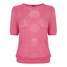 Buy Warehouse Pointelle Tee, Bright Pink Online at johnlewis.com