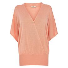 Buy Oasis Wrap Front Top, Coral Online at johnlewis.com