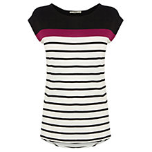 Buy Oasis Breton Stripe Tee, Purple Online at johnlewis.com