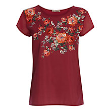 Buy Oasis Rose Placement T-Shirt, Berry Online at johnlewis.com