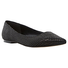 Buy Dune Amarie Pointy Reptile Pumps, Black Online at johnlewis.com