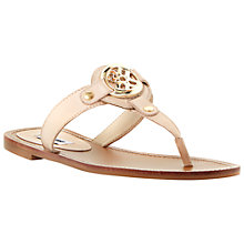 Buy Dune Monogram Toe Post Flat Leather Sandals, Blonde Online at johnlewis.com