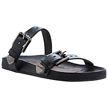 Buy Bertie Jac Leather Flat Sandals, Black Online at johnlewis.com