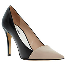 Buy Dune Amylyn Contrasting Pointed Toe Leather Court Shoes, Black / Nude Online at johnlewis.com