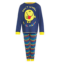 Buy Mr Happy Don't Worry Be Happy Pyjamas, Blue Online at johnlewis.com