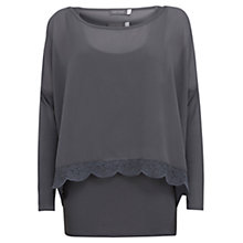 Buy Mint Velvet Lace Edge Double Layer Top, Steel Online at johnlewis.com