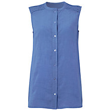 Buy Jaeger Linen Sleeveless Pintuck Shirt, China Blue Online at johnlewis.com