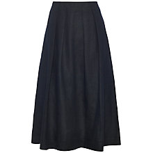 Buy Jaeger Linen Flare Skirt, Navy Online at johnlewis.com