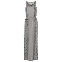 Buy Warehouse Embellished Neckline Mono Print Maxi Dress, Black Online at johnlewis.com