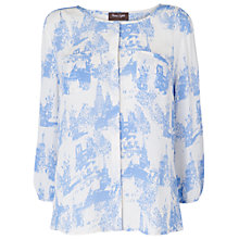 Buy Phase Eight Cameron Print Blouse, Ivory/Beau Blue Online at johnlewis.com