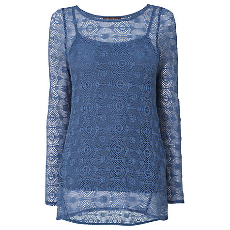 Buy Phase Eight Julia Textured Top, Beau Blue Online at johnlewis.com