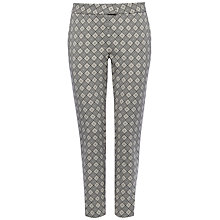 Buy Jaeger Jacquard Diamond Trousers, Ivory/Black Online at johnlewis.com