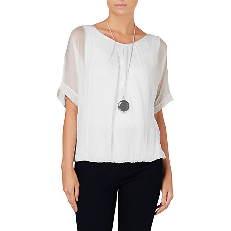 Buy Phase Eight Jenna Silk and Jersey Blouse Top, White Online at johnlewis.com