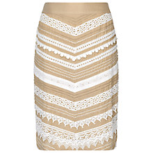 Buy Phase Eight Inez Lace Chevron Skirt, Stone/Ivory Online at johnlewis.com
