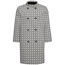 Buy Jaeger Jacquard Diamond Coat, Ivory/Black Online at johnlewis.com